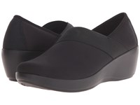 Crocs Busy Day Stretch Asymmetrical Wedge Black Black Women's Wedge Shoes