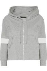 Norma Kamali Cropped Stretch Cotton Hooded Top Gray