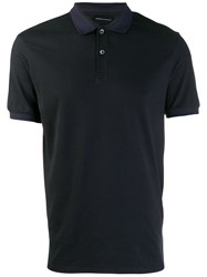 Emporio Armani Plain Button Polo Shirt Blue