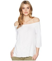 Tribal Off Shoulder Top With Embroidered Detail White Clothing