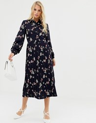 Liquorish Floral Mid Shirt Dress With Pleated Skirt Navy Pink Floral