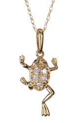 Candela 10K Yellow Gold Cz Frog Charm Necklace Gray