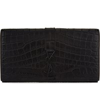 Saint Laurent Florida Crocodile Embossed Leather Wallet Black