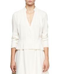 Proenza Schouler Long Sleeve Crepe Peplum Top Off White