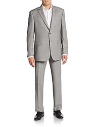 Saks Fifth Avenue Made In Italy Regular Fit Tonal Plaid Wool Suit Black White
