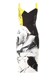 Prabal Gurung Classic Rose Print Fitted Dress