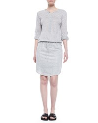 Vince Linen Slub Drawstring Dress Heather Gray