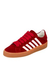 Dsquared Side Stripe Suede Low Top Sneakers Red