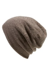 Women's Barefoot Dreams Knit Slouch Beanie Brown Cocoa