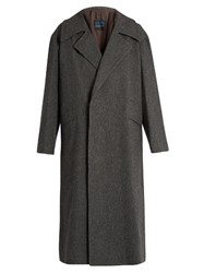 Yohji Yamamoto Regulation Loose Fit Wool Flannel Coat Grey