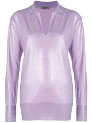 Bottega Veneta Sheen Front V Neck Top Pink And Purple
