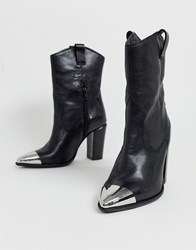 Bronx Leather Western Boots With Metal Toe Cap Black
