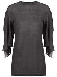 Sissa 7 8 Cut Out Sleeves Blouse Black