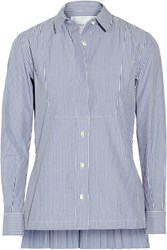Sacai Pleated Striped Cotton Poplin Shirt Blue