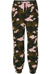 The Upside Camouflage Print Stretch Jersey Track Pants Army Green