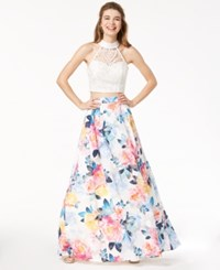 e873b4c5d3b Trixxi Juniors  Lace Floral Printed 2 Pc. Gown Multi
