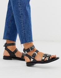 Bronx Leather Western Buckle Sandals Black