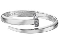 Vince Camuto Flat Nail Head Hinged Cuff Bracelet Light Rhodium Crystal Bracelet Silver
