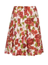 Emilia Wickstead Polly Floral Print A Line Skirt Pink Print