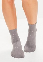 Missguided Grey Stud Detail Ankle Socks