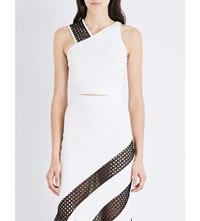 David Koma One Shoulder Stretch Crepe Cropped Top White Black