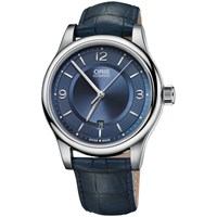 Oris 01 733 7594 4035 07 5 20 85 Men's Classic Date Leather Strap Watch Navy