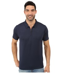 Perry Ellis Solid Polo With Zipper Closure Dark Sapphire Men's Short Sleeve Knit Blue