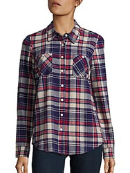 Bcbgeneration Multi Tone Plaid Shirt Deep Blue Multi