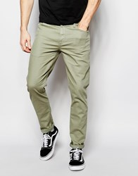 Asos Skinny Jeans In Light Khaki Sea Spray Green
