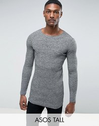 Asos Tall Longline Muscle Fit Ribbed Jumper In Black And White Twist Black White Twist Grey