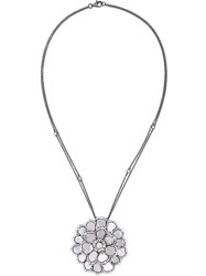 Saqqara Black Gold And Diamond Flower Necklace Grey