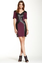 Rebecca Minkoff Harriet Leather And Ponte Knit Dress Purple