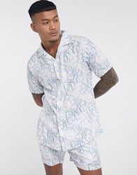 Liquor N Poker Co Ord Revere Collar Shirt With Ink Print In White
