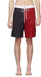 Moncler Gamme Bleu Navy And Red Tricolor Swim Shorts