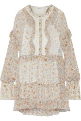 Philosophy Di Lorenzo Serafini Lace Paneled Floral Print Georgette Mini Dress Cream