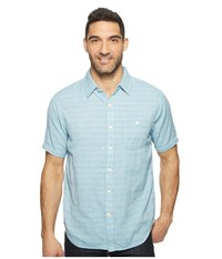 True Grit Indigo Surf Plaid One Pocket Short Sleeve Shirt Double Light Combed Cotton Light Chambray Men's Clothing Blue