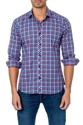 Jared Lang Long Sleeve Plaid Semi Fitted Shirt Pink