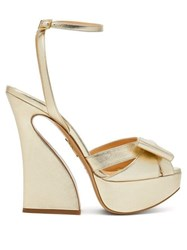 Charlotte Olympia Curved Heel Leather Platform Sandals Gold