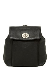 Perlina Turn Lock Leather Backpack Black