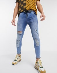Sik Silk Siksilk Skinny Jeans In Acid Wash Blue With Branded Waistband