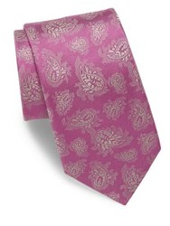 Charvet Paisley Embroidered Silk Tie Pink