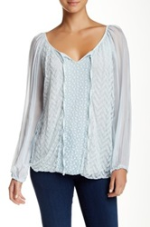 Luma Lace Trim Blouse Blue