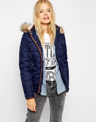 Bellfield Padded Coat With Check Navy