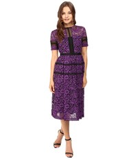 Donna Morgan Fit And Flare Illusion Purple Dahlia Women's Dress