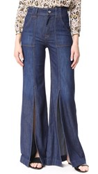 7 For All Mankind Palazzo Pants With Front Slits Luxe Lounge Deep Blue