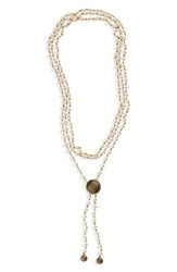 Virgins Saints And Angels Flamenco Lariat Wrap Necklace Cream Pearl