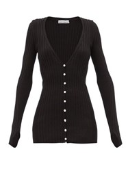 Paco Rabanne Ribbed Cotton Blend Cardigan Black