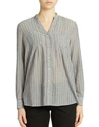Lord And Taylor Striped Cotton Shirt Evening Blue