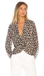 Heartloom Camille Blouse In Brown. Leopard