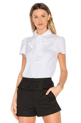 Red Valentino Tie Neck Short Sleeve Top White
